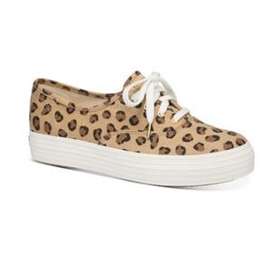 NEW KEDS Leopard Triple Kick Canvas Sneakers